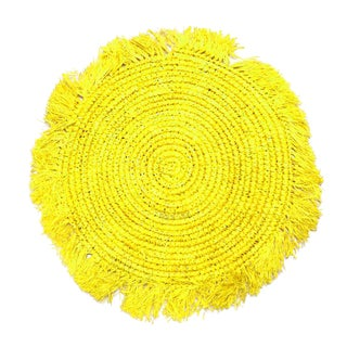Tropical Jungle Woven Raffia Placemats, in Yellow - Set of 4