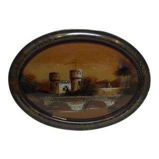"Circa 1900 ""The Castle"" Original Reverse Glass Painting"