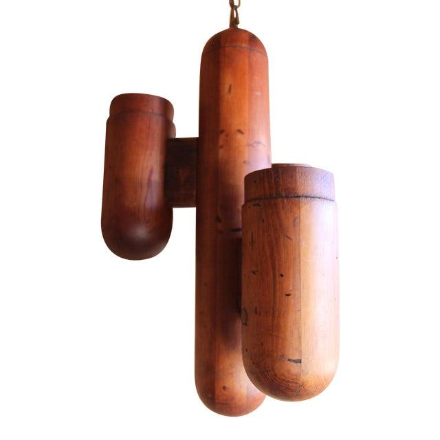Image of Mid-Century Modernist Wood Cactus Chandelier