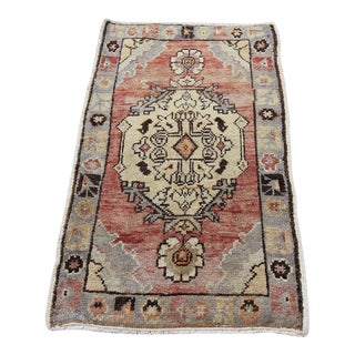 Mid-20th C. Vintage Antique Tribal Oushak Hand Knotted Turkish Rug - 1'9 X3'