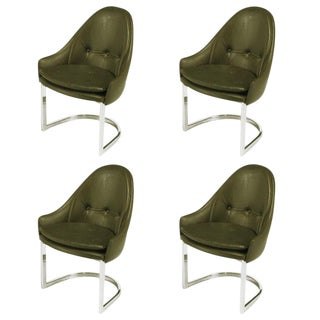 Four Cantilevered Chrome and Chocolate Brown Spoonback Dining Chairs