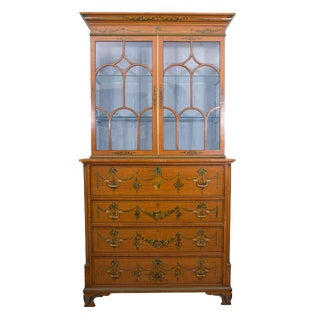 English Adams Style Painted Satinwood Secretary