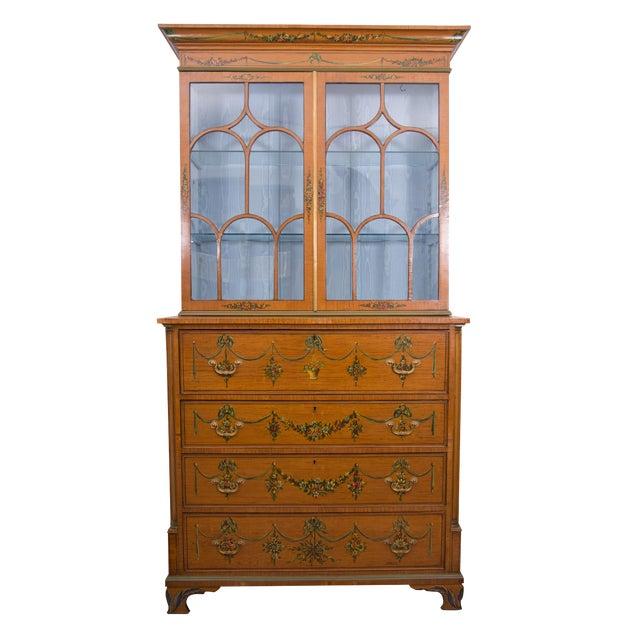 English Adams Style Painted Satinwood Secretary - Image 1 of 10