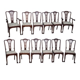 Antique Solid Mahogany Dining Chairs - Set of 12