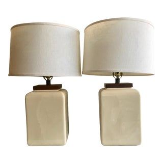 Vintage Ceramic and Wood Table Lamps
