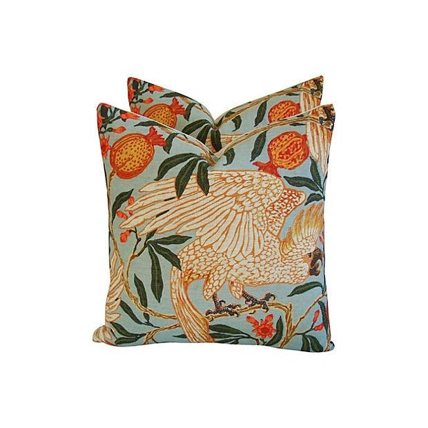 Tropical Parrot & Pomegranate Pillows - Pair - Image 1 of 7