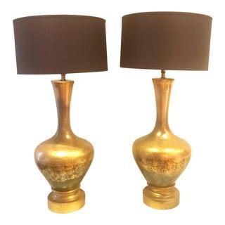 Mid-Century Ceramic Gourd Lamps- A Pair