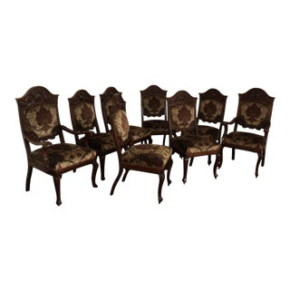 19th Century Ornately Carved Oak Dining Room Chairs - Set of 8