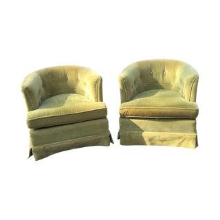 Ethan Allen Tufted Club Barrel Chairs - A Pair