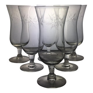 Vintage Tulip Style Etched Glassware - Set of 6