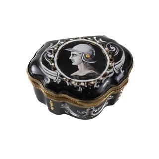19th Century Limoges French Jeweled Enamel & Bronze Mounted Trinket Box