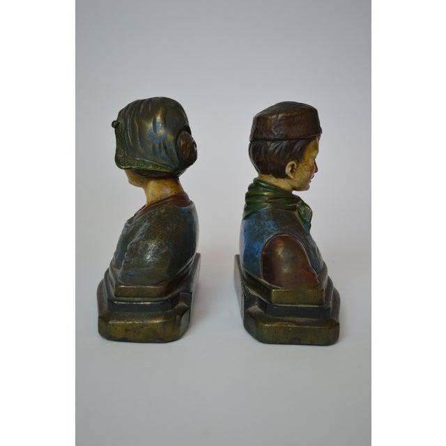 Armor bronze polychrome danish style bookends 2 chairish - Armor bronze bookends ...