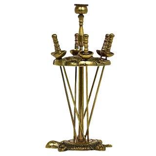 Brass Hors D'ouvrés Swords & Stand- Set of 6
