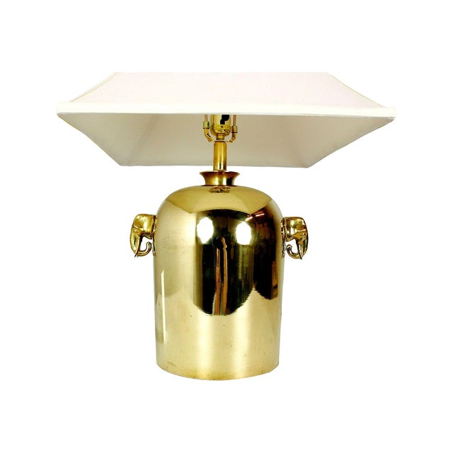 Image of Mid-Century Brass Elephant Table Lamp