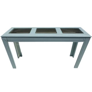 Blue Painted Oak Wood Sofa Table