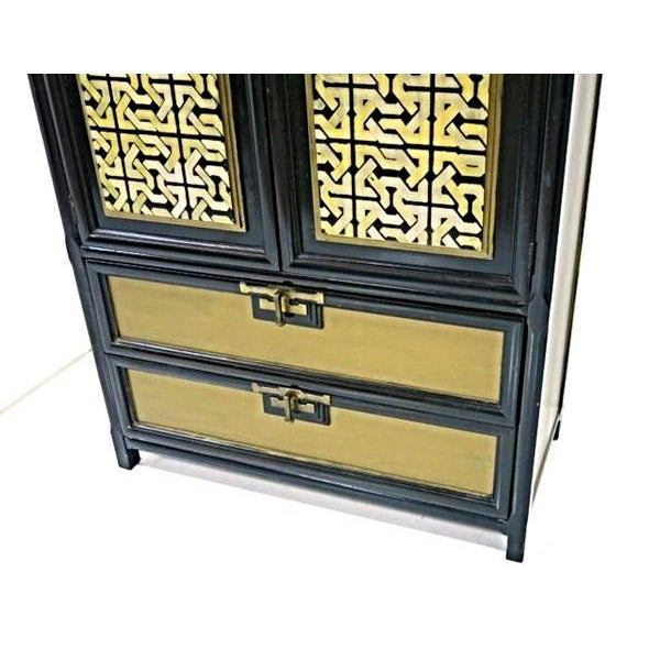 Mid-Century Gold Black Laquer Armoire Wardrobe - Image 5 of 10