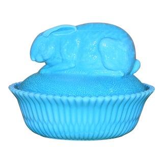 Turquoise Milk Glass Rabbit Dish