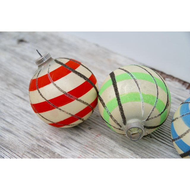 Striped West German Christmas Ornaments - Set of 5 - Image 2 of 11