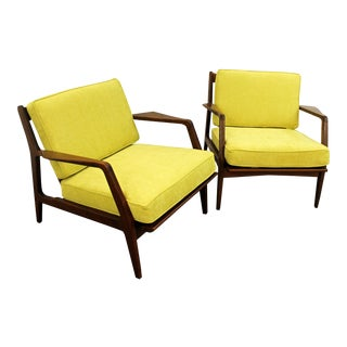 Finn Juhl Style Open Arm Citron Walnut Lounge Chairs - A Pair