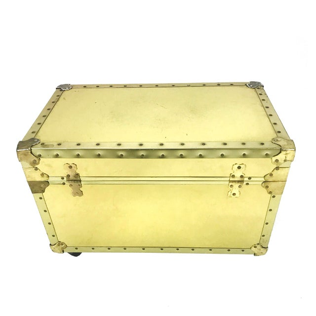 Vintage Riveted Brass Trunk - Image 3 of 8