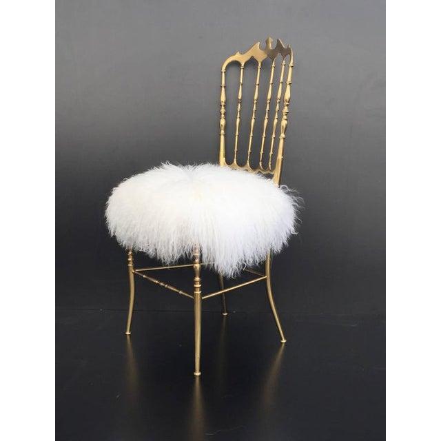 Italian Brass Chiavari Chair in Mongolian Fur - Image 2 of 10