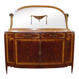 1910s Antique French Marble Top Inlaid Art-Nouveau Maple Sideboard