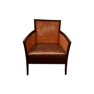 Crate & Barrel Rattan & Leather Accent Chair