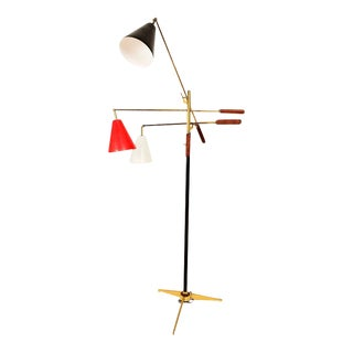 Mid Century Modern Early Triennale Floor Lamp in Brass and Brown Leather