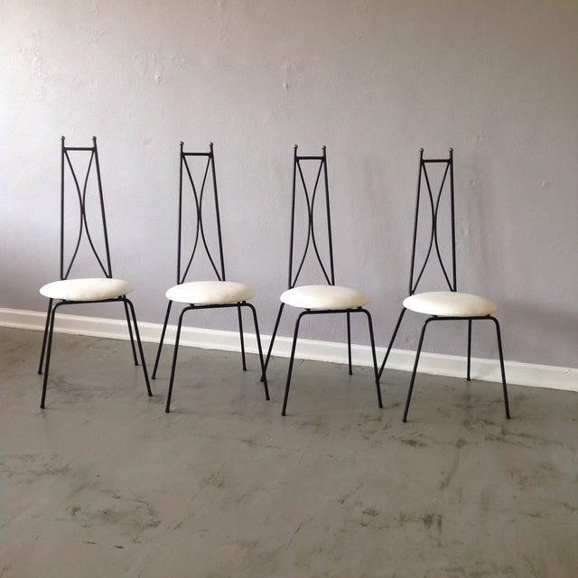 Salterini style wrought iron cafe chairs set of 4 chairish for Wrought iron cafe chairs