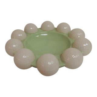 Vintage Round Green & White Golf Balls Ashtray