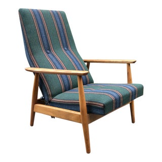 Mid-Century Striped Rocker Lounge Chair