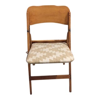 Vintage Upholstered Wooden Folding Chair