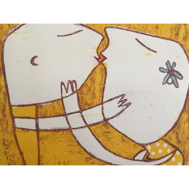 Original Yellow Monoprint by Marina Anaya - Image 5 of 10
