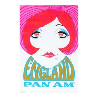 Reproduction' Pan Am England' Travel Poster