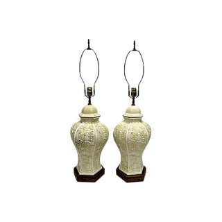 Chinese Porcelain Ginger Jar Table Lamps- A Pair