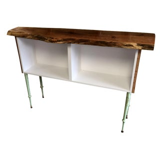 Live Edge & Spindle Leg Bookshelf Console