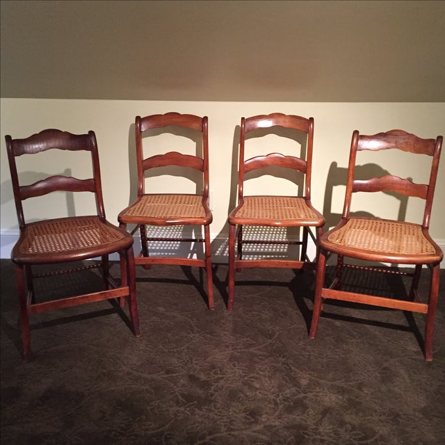 Antique Tiger Maple Chairs - Image 2 of 6