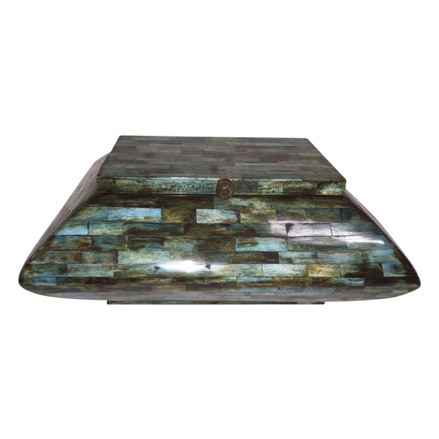 Rare Mid-Century Large Aqua Blue Tessellated Wood Box - Image 1 of 9