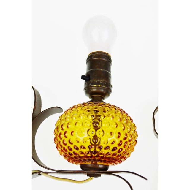 Amber Wall Sconces Glass : Vintage Amber Bubble Glass Wall Sconces- A Pair Chairish