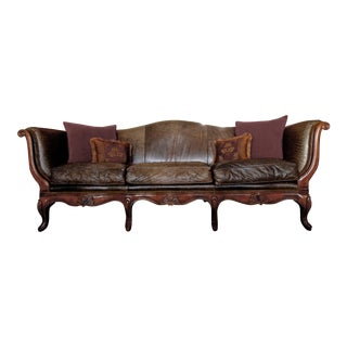 Century Brown Leather Roll Arm Sofa