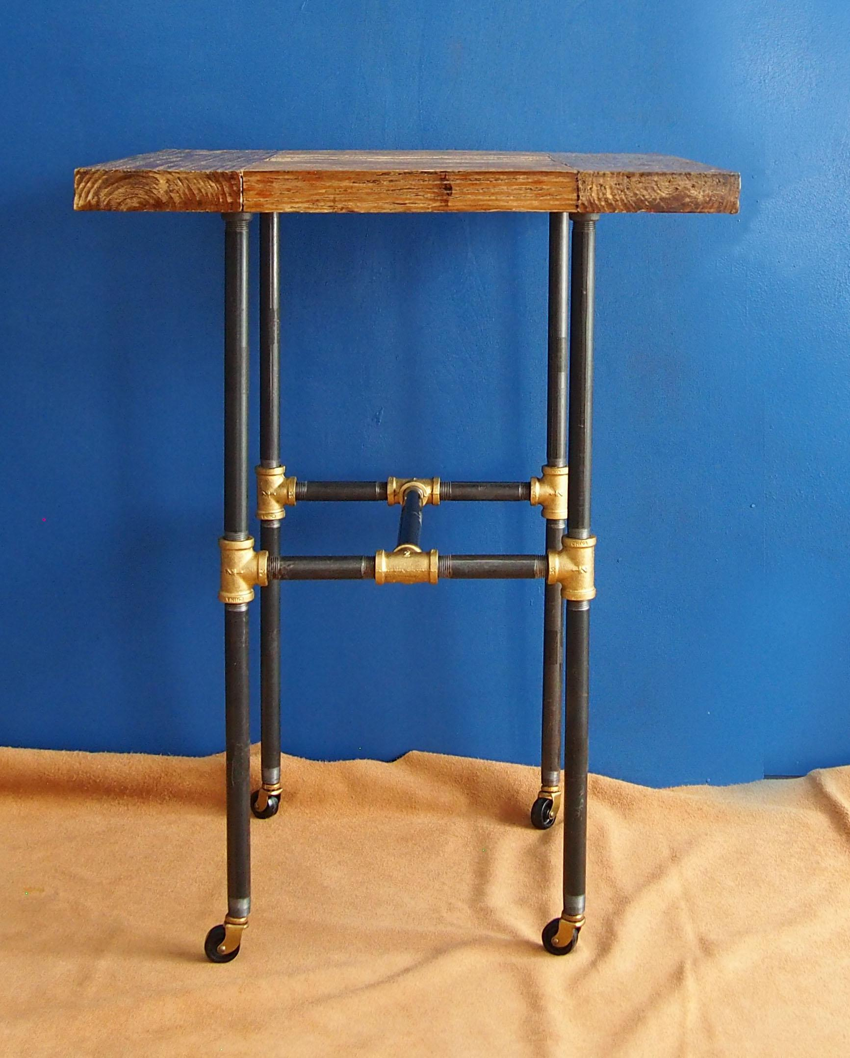 Nice Industrial Style Distressed Wood U0026 Steel Pipe End Table   Image 2 ...