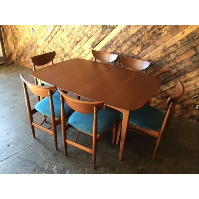 Image of Mid-Century Walnut Dining Table W/Leaf & 6 Chairs
