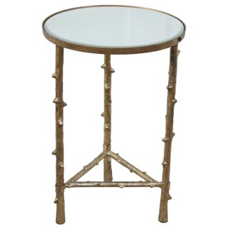 1980s French Gilt Faux Twig Mirrored Side Table