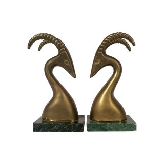 Brass Antelope Bookends - Pair