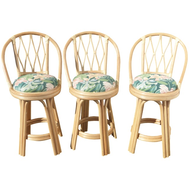 Mid-Century Faux Bamboo Bar Stools - Set of 3 - Image 1 of 11