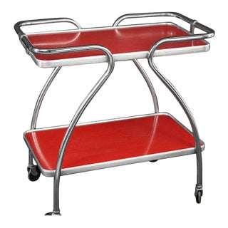 Mid-century Bar Cart, Chrome Frame, and Laminate Shelves