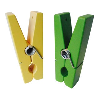 Pop Art Chartreuse & Yellow Clothespin Paperclips - a Pair