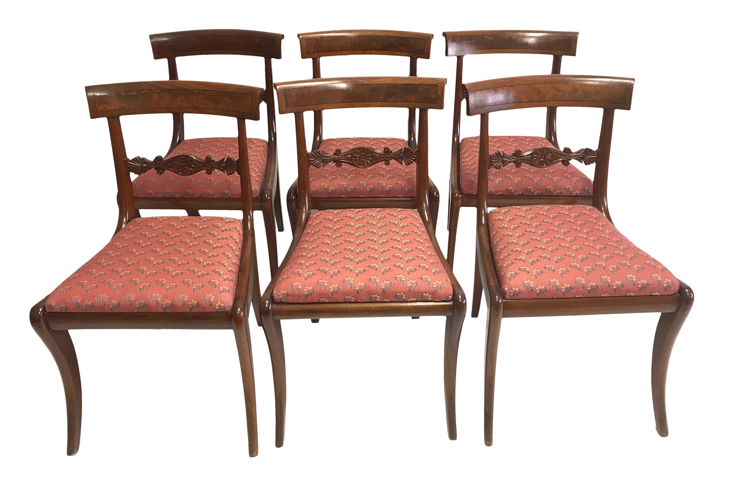Regency Carved Mahogany Dining Chairs  Set Of 6