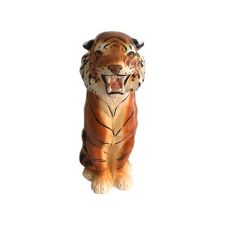 Vintage Hand Painted Ceramic Tiger
