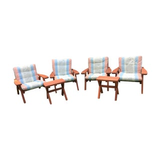 Mid Century Garden Redwood Patio Set